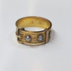 18 Carat Gold Georgian Pearl Mourning Ring