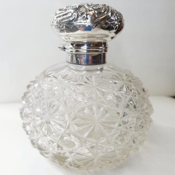 Edwardian HMSS & Crystal Perfume Bottle. English Hallmarked Birmingham 1905