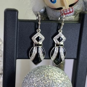 Art Deco Style, White Gold, Diamond & Onyx Drop Earrings