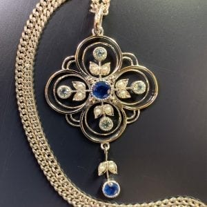 Edwardian Style, White Gold, Sapphire, Topaz & Seed Pearl Pendant