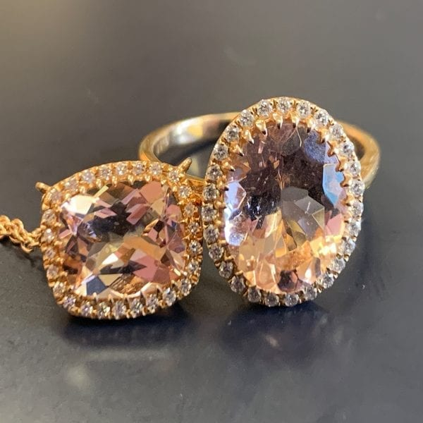 Rose Gold, 3.11ct Oval Morganite & Diamond Halo Ring
