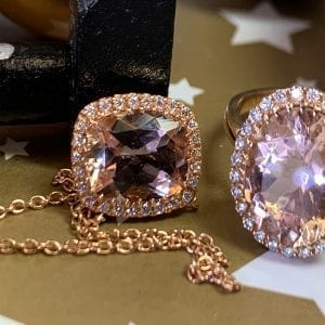 Rose Gold, Cushion-Cut, Morganite & Diamond Halo Necklet