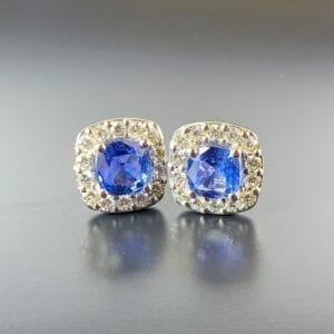 Traditional, 18ct White Gold, Ceylon Sapphire & Diamond Halo Earrings
