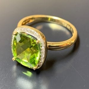 Traditional, Yellow Gold Cushion-Cut, Peridot & Diamond Halo Ring