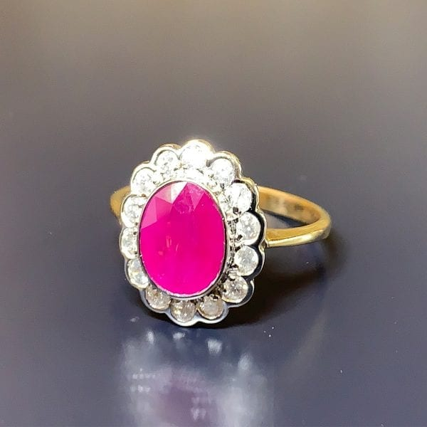 Traditional, Yellow Gold, Oval-Cut Ruby & Diamond Halo Ring