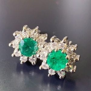 White Gold, Columbian Emerald & Diamond Halo Stud Earrings