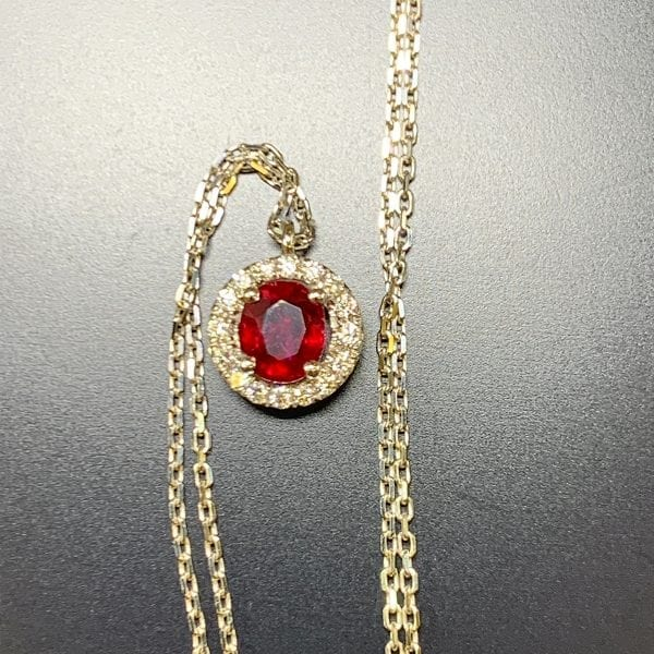White Gold Natural Ruby & Diamond Halo Pendant