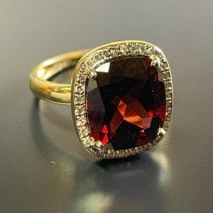 ellow Gold, Cushion-Cut, Garnet & Diamond Halo Ring