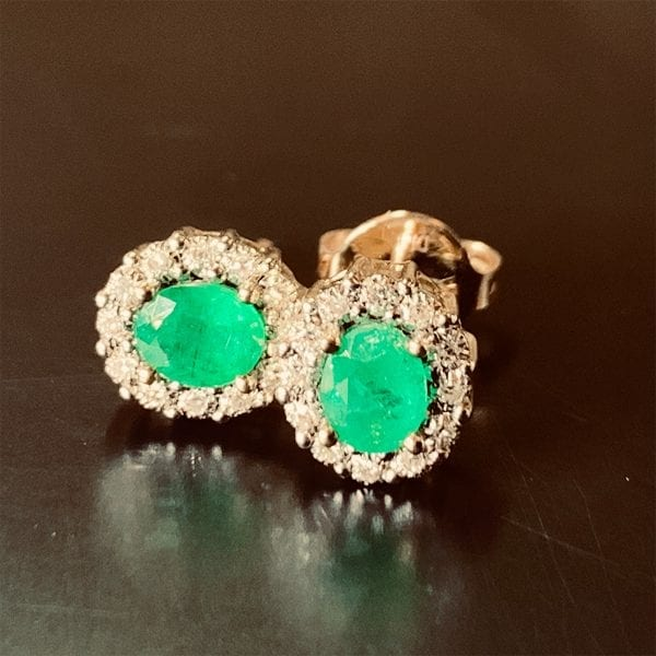 Yellow Gold Natural Emerald & Diamond Halo Earrings