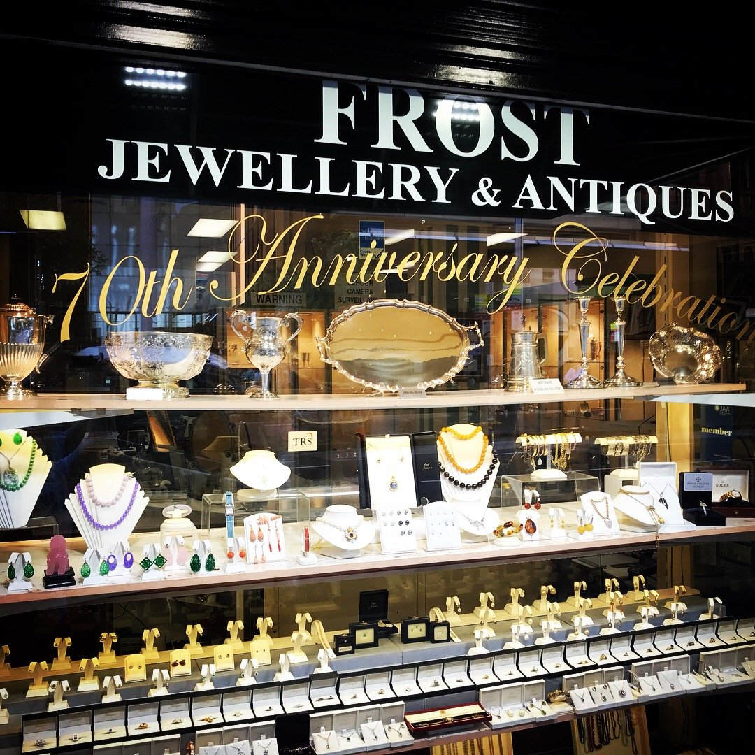Frost jewellery and antiques shopfront jewellery store 160 Castlereagh st Sydney