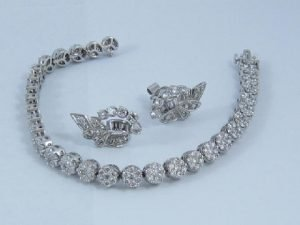 diamond tennis bracelet cluster with fancy art earrings