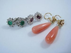 Coral and gold Earrings with ruby and emerald set diamond earrings