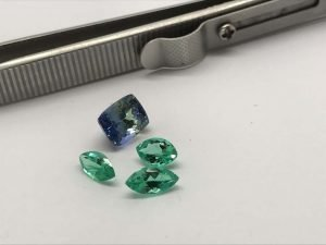 Natural Tanzanite Bi-colour and Colombian Emeralds marquise shape loose