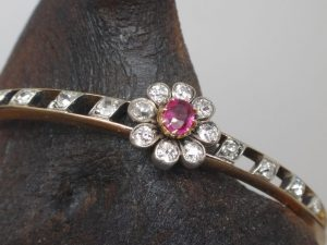 Antique Gold bracelet with ruby and diamond flower setting