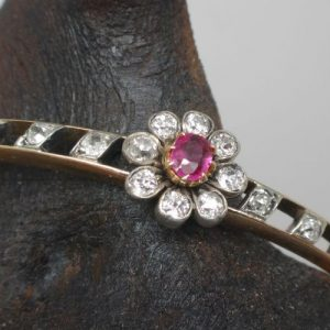 Antique Antique Gold bracelet with ruby and diamond flower settingold bracelet with ruby and diamond flower setting