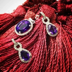 amethyst gold jewellery and diamond pendant and earrings set with natural untreated gems