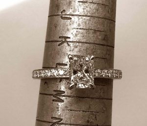 1 carat excellent radiant cut solitaire diamond engagement ring with 4 claws and diamond set band in 18ct rose gold