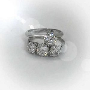 engagement ring white gold platinum solitaire diamond and 3 stone eternity ring 18ct