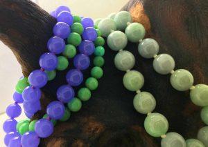 Burmese natural lavender purple jade and green jade bead necklace and bracelet