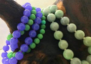 Burmese natural lavender purple jade and green jade bead necklace and bracelet