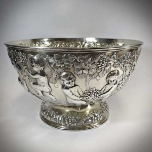English Sterling Silver Punch-bowl highly decorated cherub scene
