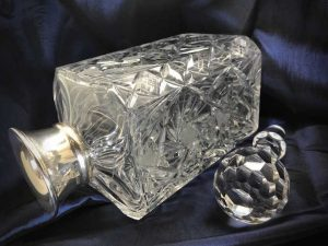 Antique English Sterling Silver Crystal whisky carafe and stopper