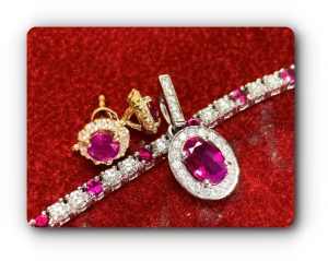 Ruby, Spinel , coloured gems, gold ,diamonds , tennis bracelet, pendant, earrings