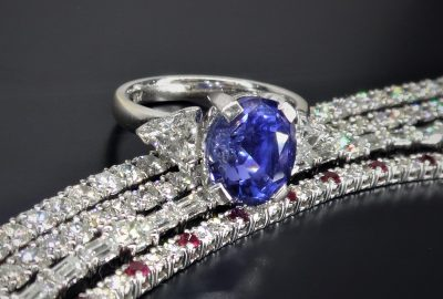natural untreated blue ceylon Sapphire and diamond white gold ring in 18ct with 18ct diamond tennis bracelets and ruby and diamond tennis bracelets