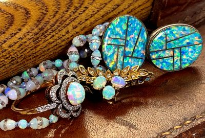 opal jewellery beads and opal cuff-links and rings, gold opals jewellery and vintage brooches