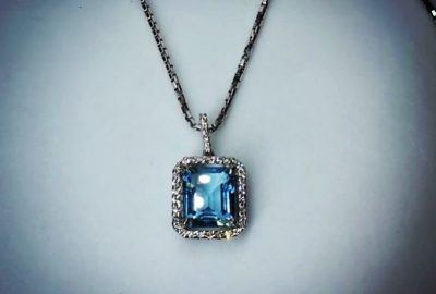 Blue Topaz, diamond pendant, white gold 18ct
