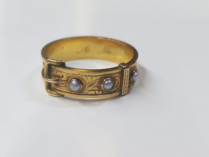 18 Carat Gold Georgian Pearl Mourning Ring