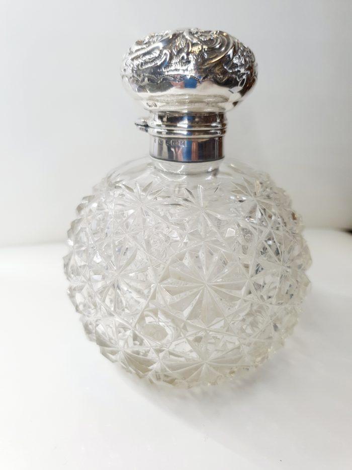 Edwardian HMSS & Crystal Perfume Bottle. English Hallmarked Birmingham 1905