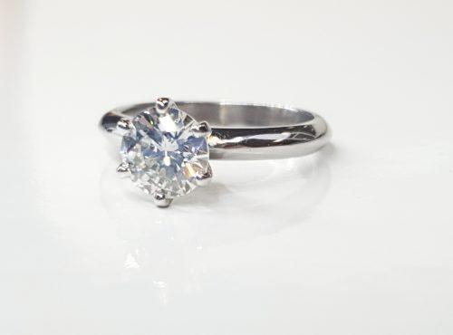 Handmade 18 Carat White Gold Round Brilliant Cut Solataire Diamond Ring