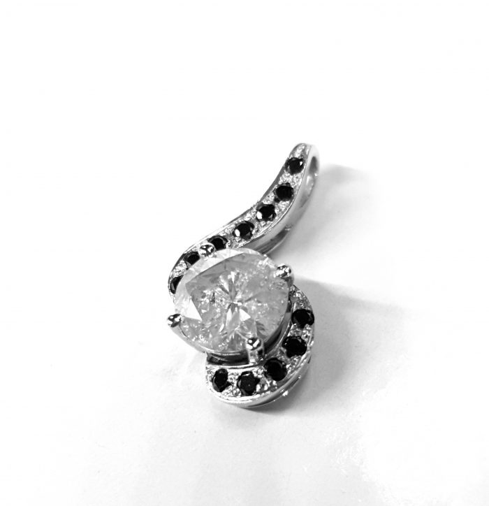 Unique Handmade Black & White Diamond Pendant in 18 Carat White Gold